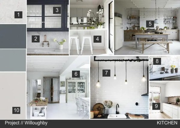 Nordic style kitchen interior design mood board created on www.sampleboard.com
