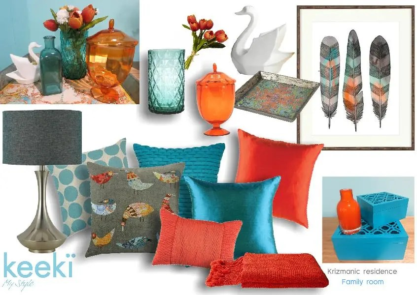 complimentory color mood board - turquoise and orange. Created on www.sampleboard.com