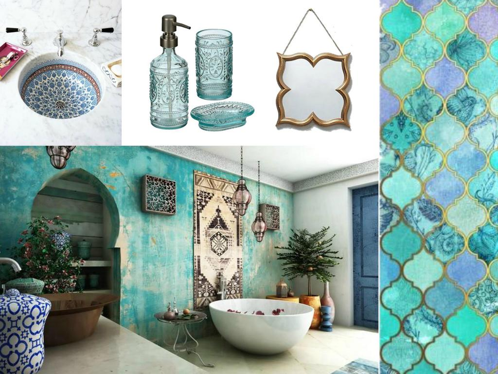 moroccan bathroom moodboard