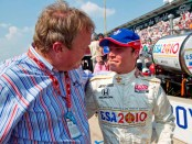 BSA IndyCar driver Alex Lloyd (right) and team owner Dale Coyne were all smiles at last year's race after the team finished fourth.