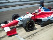 The BSA Dale Coyne Racing #19 car with driver Justin Wilson zooms out of the pits during practice at Indianapolis Motor Speedway.