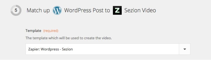 Zapier: Match up WordPress post to Sezion video