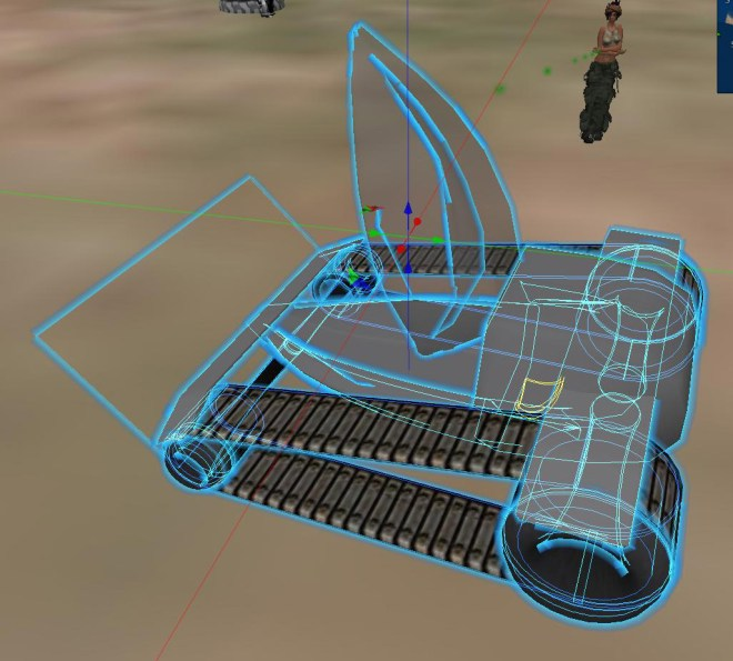 Note the invisible ramp prim affixed to the front end of this ground vehicle, used to skate over small obstacles.