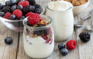 Healthy breakfast with Fresh greek yogurt muesli and berries