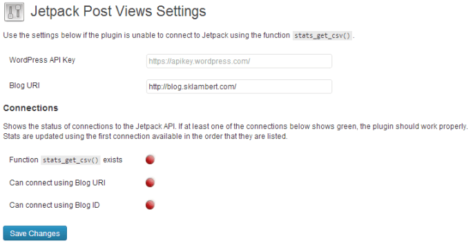 Jetpack Post Views settings page