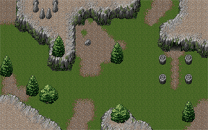 A mountainous terrain created using a tileset