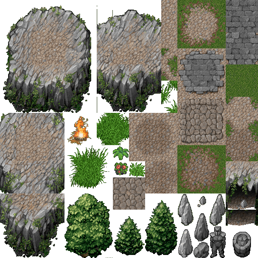 A tileset of a mountainous terrain