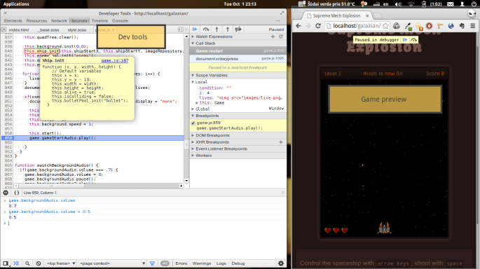 A screenshot showing Chrome dev tools open on one half of the screen and my game open on the other half