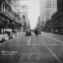 Looking east on Main from Akard, 1930