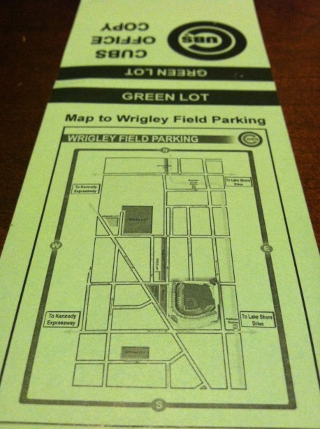 Cubs Green Lot Parking Map