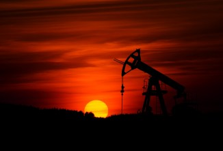 Oil pump and sunset