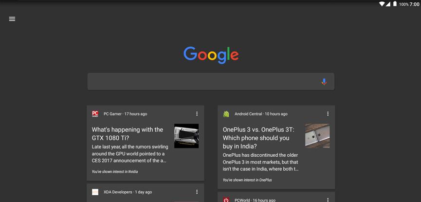 google dark theme