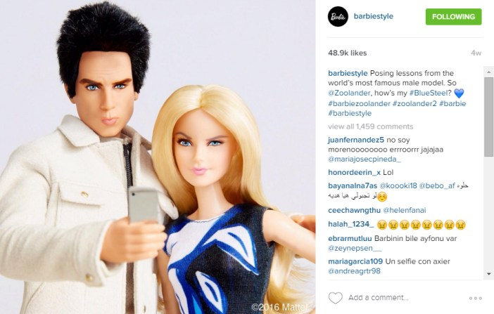 Barbie and Derek Zoolander Instagram Unconventional fashionistas