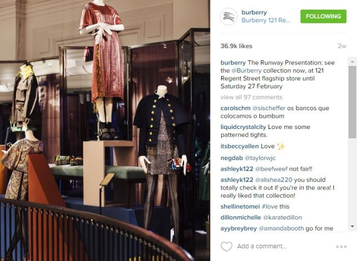 Instagram post Burberry Runway presentation on Stylight blog