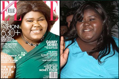 Senegalese/American actress Gabourey Sidibe's photoshopped Elle magazine cover image (left) compared to her natural skin colour (right).