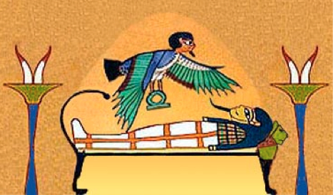 Ba, the human soul, which is depicted as a bird, hovers over his newly mummified master, the body wherein Ba formerly dwelt, now laying on the bier.
