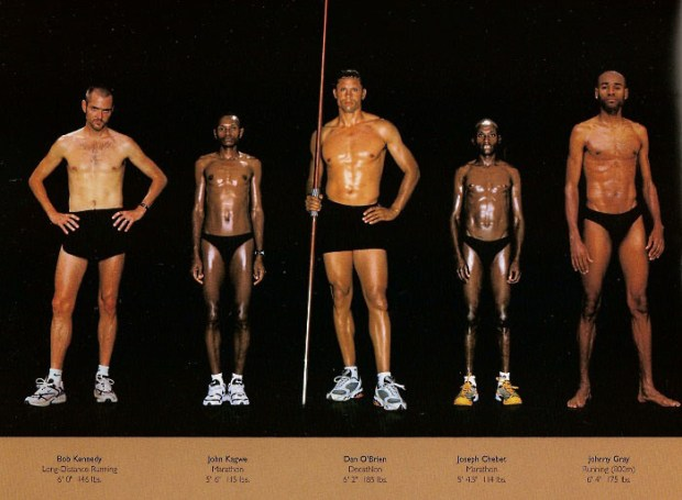 ... feeling for the competitive edge the Kenyan runners' (who look so similar to each other they could be from the same ethnic group as well, perhaps Kalenjin, known for runners)