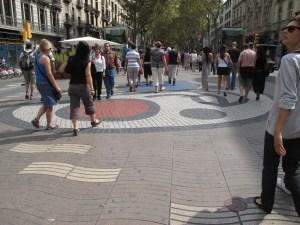 Miro art in the plaza