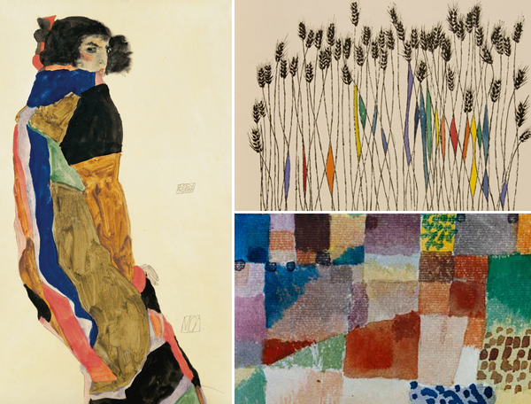 portions of work by Schiele, Shahn and Klee
