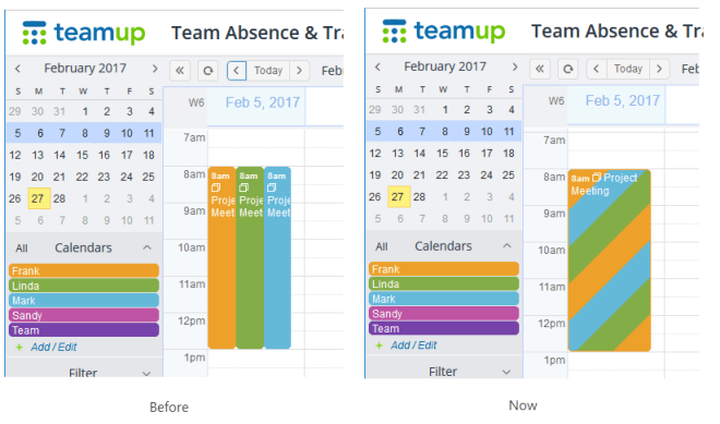 Display of an event assigned to multiple calendars