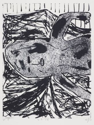 John Foster. Untitled – from the 'Forceps Delivery' series. 1978. Lithograph on paper. Purchased 2015. Te Papa (2015-0026-11).