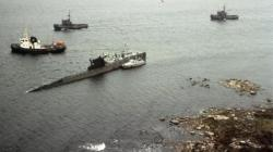 Soviet Whiskey class submarine U137 on ground outside Karlskrona, Sweden.