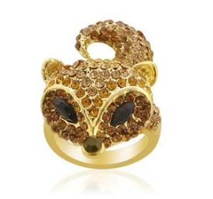 Creature Couture Black,Yellow and Brown Austrian Crystal Fox Pattern Ring