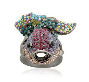 Creature Couture Multi Colour Austrian Crystal Fish Pattern Ring
