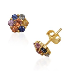 ORANGE SAPPHIRE (RND), YELLOW, GREEN, PINK AND KANCHANABURI BLUE SAPPHIRE STUD EARRINGS (WITH PUSH BACK) IN 14K GOLD