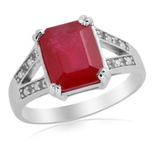 AFRICAN RUBY (OCT 4.25 CT), WHITE TOPAZ RING