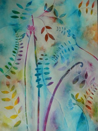 Mixed media river reeds wild flowers