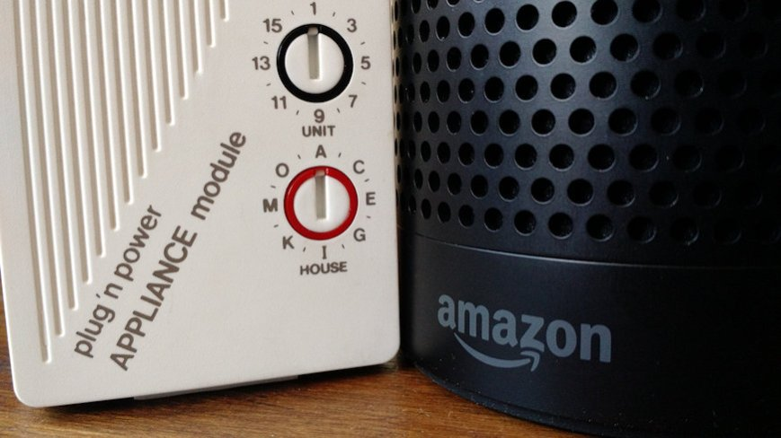 You can control X10 devices with the Amazon Echo using IFTTT