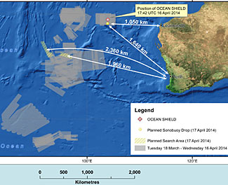 Details of Australia's current search areas for MH 370.