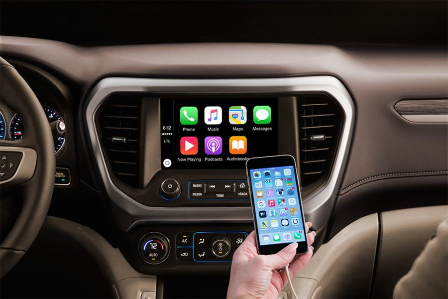 Powerful and Spacious  A 2017 GMC Acadia Test Drive Review   Buick     Close up of a dashboard with Apple Carplay