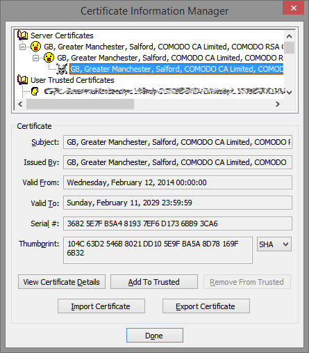 Certificate Information Managed - Expanded to show untrusted certificate
