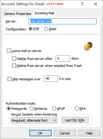 The account settings panel for the Persona that rejected the certificate.