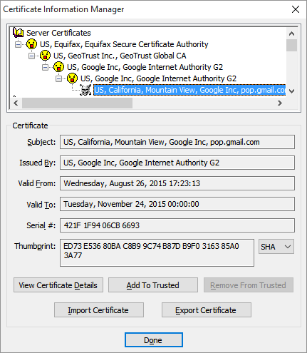 The rejected, untrusted certificate with the skull and crossbones icon is selected, indicated by appearing highlighted.