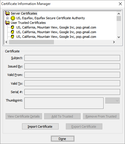 The Certificate Information Manager panel just after the Add To Trusted button is clicked.