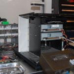 left side panel taken off to access the scsi cd drive mounting screws