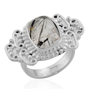 Artisan Crafted Sterling Silver Black Rutile Quartz Ring