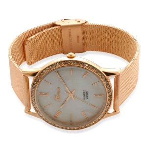 GENOA Mother of Pearl,White Austrian Crystal Japanese Movement Watch in ION Plated Rose Gold Stainless Steel