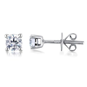 Limited Available IGI Certified ILIANA 0.50 Ct Diamond ( Clarity SI and Colour F to G ) 18K White Gold Earring