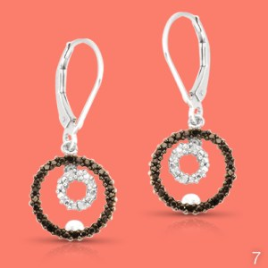 Black and white diamond lever back earrings