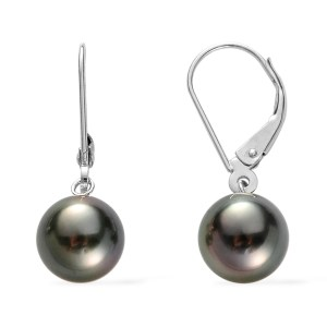 ILIANA 18K W GOLD TAHITIAN PEARL (RND 7-8 MM) LEVER BACK EARRINGS 9.500 CT.