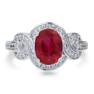 AFRICAN RUBY (OVL 4.96 CT), DIAMOND RING IN STERLING SILVER 5