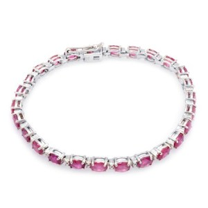 AFRICAN RUBY (OVL), DIAMOND BRACELET IN STERLING SILVER