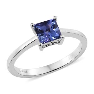 ILIANA Tanzanite Solitaire Ring in 18K White Gold