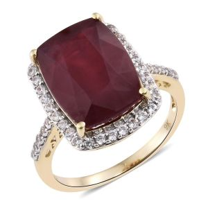 African Ruby and White Zircon Ring in 9K Gold