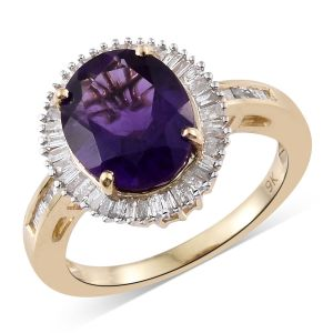 9K Yellow Gold Zambian Amethyst, Diamond Ring