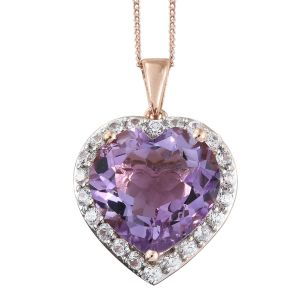 Rose De France Amethyst and Natural Cambodian Zircon Halo Heart Pendant